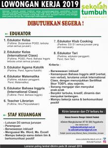 Info Lowongan Kerja Sekolah Tumbuh